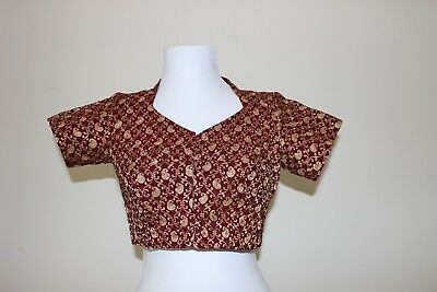 Blouse Chanderi shimmer blouse in maroon with cotton lining front hook closure