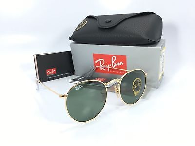 d4f8256f47 NEW RayBan RB3447 001 Round Metal Gold Frame Green Classic G-15 Lens  Sunglasses