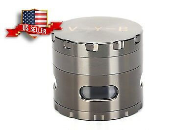 "Large Spice Tobacco Herb Weed Grinder-4 Pcs with Pollen Catcher 2.5"" Gift Gray"