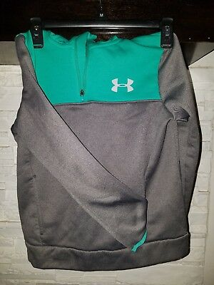 Boys Under Armour Loose Gray And Mint Hoodie Youth Med