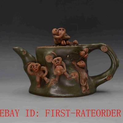 Vintage Chinese Yixing Zisha Hand-carved Monkey Teapot Made By Chen Mingyuan F09