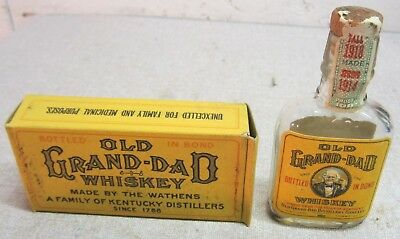 1918 Old Grand Dad pre pro mini whiskey bottle w/ORIG BOX Hobbs Ky never opened