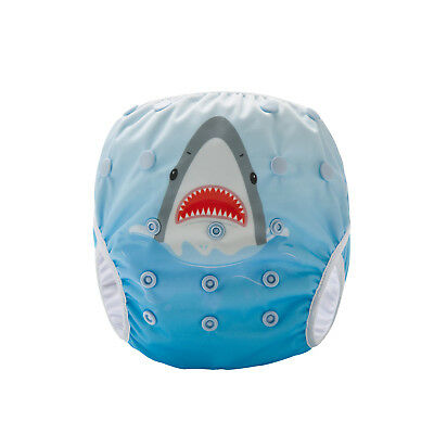 Reusable Swim Cloth Nappy - washable swimmer adjustable baby/toddler Cool Shark