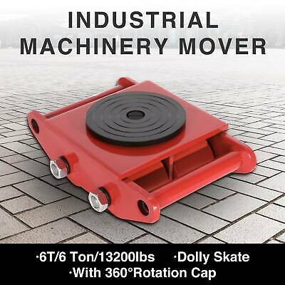 6 Ton Heavy Machine Dolly Skate Machinery Roller Mover Cargo Trolley