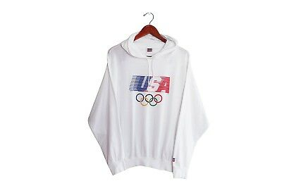 VTG Levis 1984 USA Olympics Los Angeles White Long Sleeve Shirt Hoodie Large