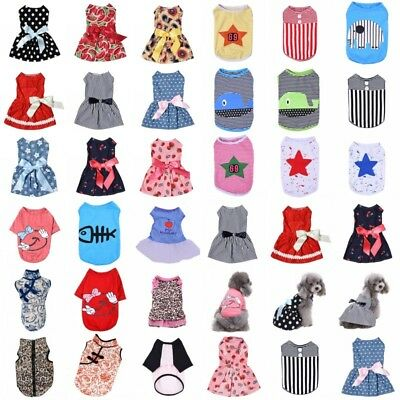 USA Lots Small Pet T Shirt Dress Puppy Dog Cat Clothes Vest Bow Skirt Apparel