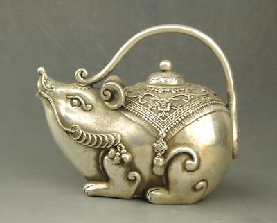China old copper plating silver hand-carved coin Wealth mouse statue teapot e01