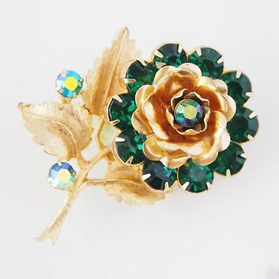 Vintage Gold Tone Green Rhinestone Flower Floral Leaf Botanical Brooch / CJ3165