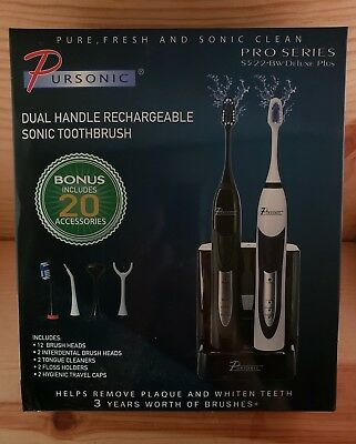PURSONIC S522 Ultra High Powered Sonic Electric Toothbrush w/12 Brush Heads