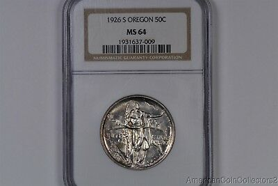 1926-S OREGON Commemorative SILVER  Half Dollar. .50c NGC MS 64 | 0952
