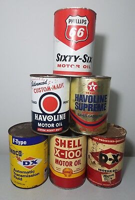 ***PRICED TO SELL*** Vintage 6 one quart oil can lot.