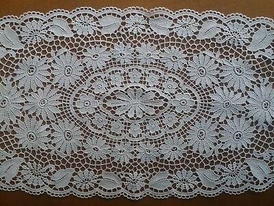 """Exquisite Antique Belgian Brussels Lace Tablecloth Runner Handmade 27.5""""x10.6"""""""