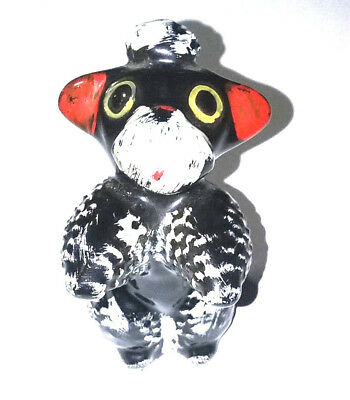 Porcelain Ceramic Black White Poodle Dog Salt Vintage Replacement Figurine Hook