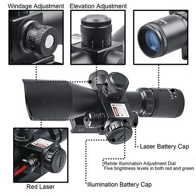 2.5-10x40 Tactical Rifle Scope Tri-illuminated Rapid Range + Fiber Optic Sight