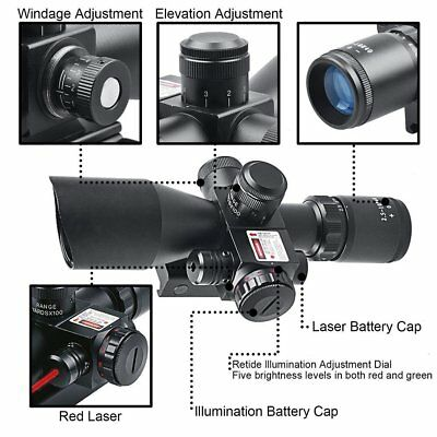 2.5-10x40 illuminated Tactical Rifle Scope with Red Laser Holographic Dot Sight