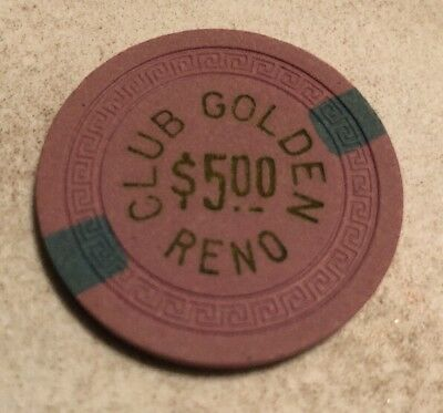 Club Golden $5 Casino Chip Reno Nevada 2.99 Shipping