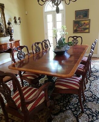 Antique Chippendale BallClaw Mahogany Dining Room Set Table & 8 Chairs Sideboard