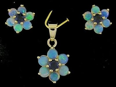PE059- Genuine 9ct Solid Gold Natural Opal & Sapphire  Blossom Drop Pendant ONLY