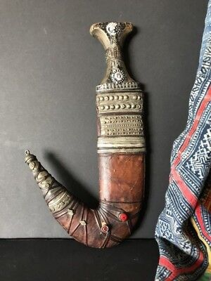 Old Yemeni Jambiya Khanjar Dagger a.) with Ornate Handle & Sheath…