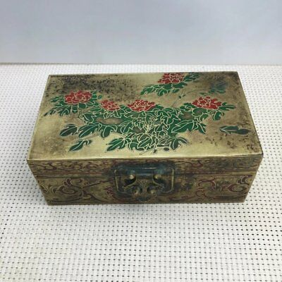 China old Copper hand Carved  flower Storage Jewelry Box d02