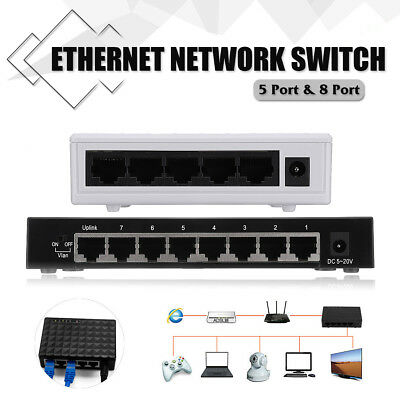 5V 5-Ports 8-Ports RJ-45 Gigabit Ethernet Network Switch Internet Hub 10/100Mbps