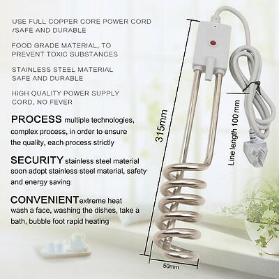 Travel Portable Electric Hot Water Heater immersion Element 1500W Camping