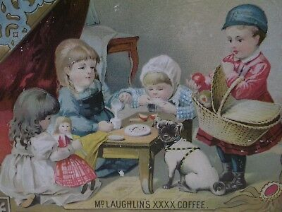 Girls Tea Party,Doll,Pug Dog,Basket-Victorian Trade Card-McLaughlin's Coffee