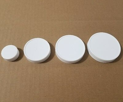 White Plastic Screw On Bottle Caps with PS22 Pressure Sensitive Liners