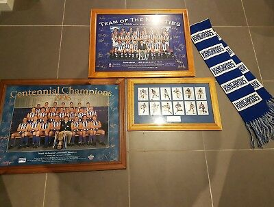 afl kangaroos. North melbourne. three frames and scarf.Team of the 90's