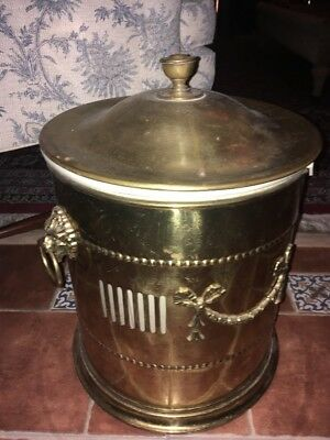 Brass Victorian English Style Coal Bucket With Lid. Lion Heads Bows Ribbon Large