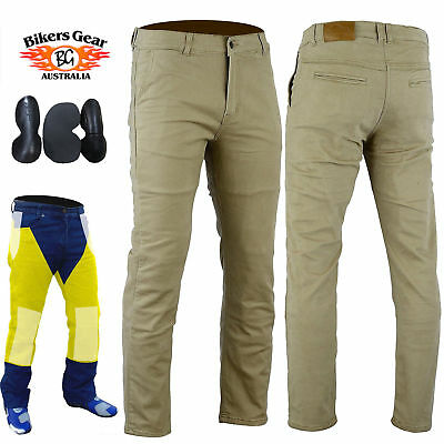 BG Australia Kevlar Lined Modern Style Motorcycle Jeans CE Protection Tan Chino