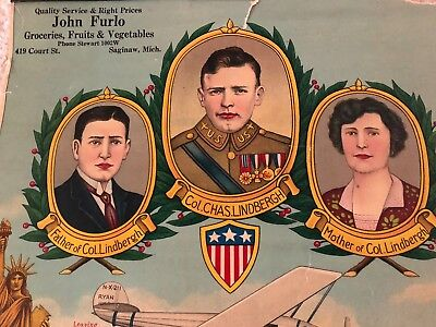 Original and very rare advertising piece with Charles Lindbergh and his Parents