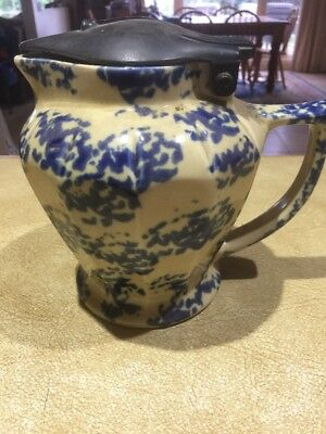 Vintage ceramic blue speckled electric jug kettle Working with cord included