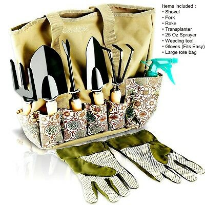 Scuddles - Garden Tools Set - 8 Piece Gardening tools With Storage Organizer,...