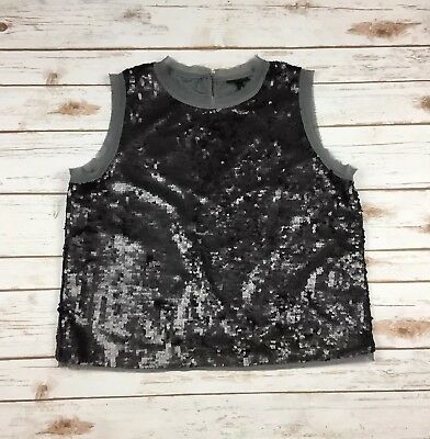 b0babc170a0055 NEW Who What Wear Sequin Top Size Large L Black Sleeveless Tank Dressy Party