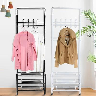 Metal Coat Hat Clothes Cloth Shoes Rack Stand 18 Garment Hanger Hooks Standing