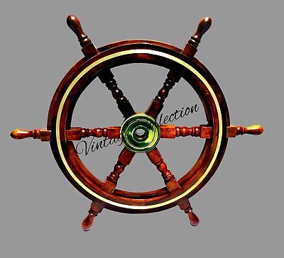 """24"""" CAPTAIN Decorative Wooden Hanging Ship Wheel Nautical Brass Boat Steering"""