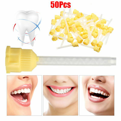 50Pcs 70mm Disposable Dental Impression Mixing Tip 3.5mm Silicone Rubber 1:1