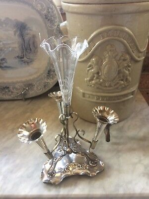 Antique silver plated epergne EPNS crystal flute