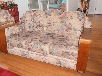 Antique Furniture Club Lounge Suite Art Deco Professionally Reupholstered