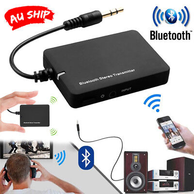 Wireless Bluetooth Transmitter Audio Stereo Music 3.5mm Home Car AUX Speaker tp