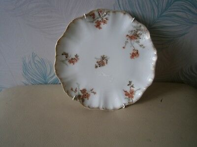 "Antique Jean Pouyat Limoges 8"" Decorative Floral Porcelain Plate c1900."