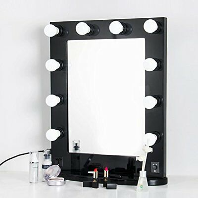 Big Hollywood Makeup Mirror Tabletop Vanity Lighted Dimmable FREE LED Bulbs~