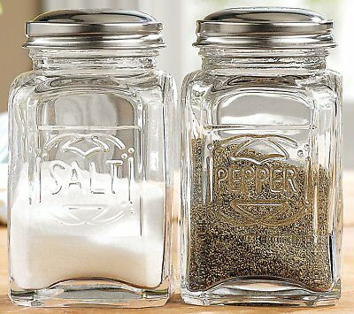Vintage Style Clear Glass Embossed Salt Pepper Shaker Set Large Stove Style New