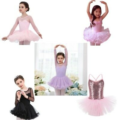 Girls Kids Fairy Ballet Tutu Gymnastics Leotard Skirt Tutu Dance Dress 4-15Y