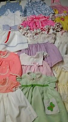 Vintage Lot Of 15 Baby Girl Clothing Items Size 12-18 Months