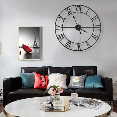 Large Outdoor Garden Wall Clock Metal Roman Numeral 40 60CM Round Face Black
