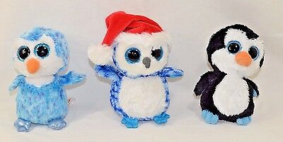 Waddles Icicles Ice Cube Ty Beanie Boos Penguin Set of 3 Plush Stuffed Animal