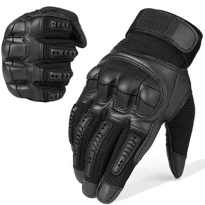 Leather Tactical Hard Knuckle Full Finger Gloves Motorcycle Motorbike Shooting
