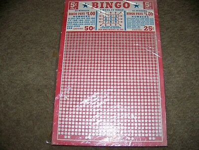 Vintage 5 cent Bingo Punch Board